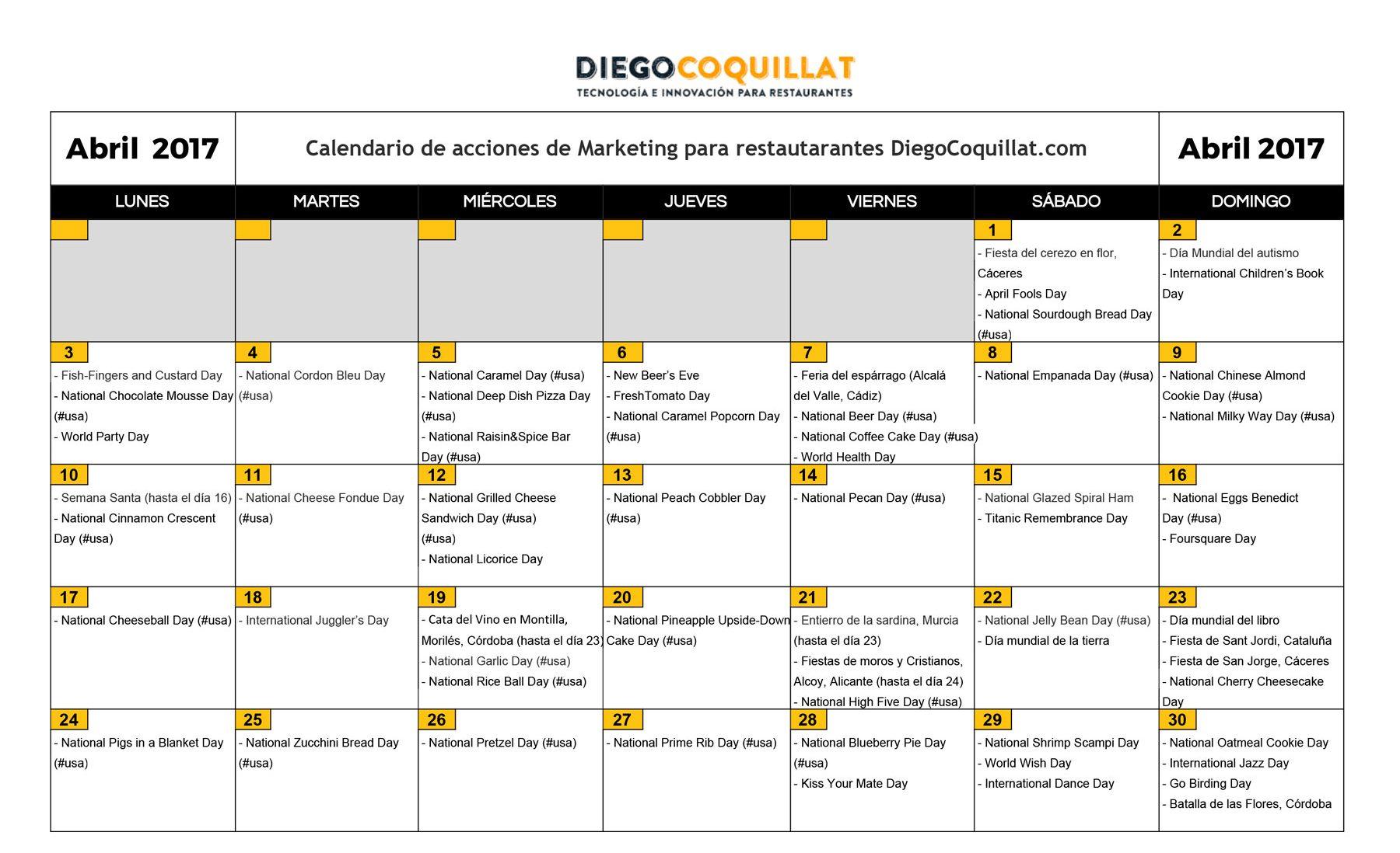 avril 2017: activités de marketing calendrier pour les restaurants