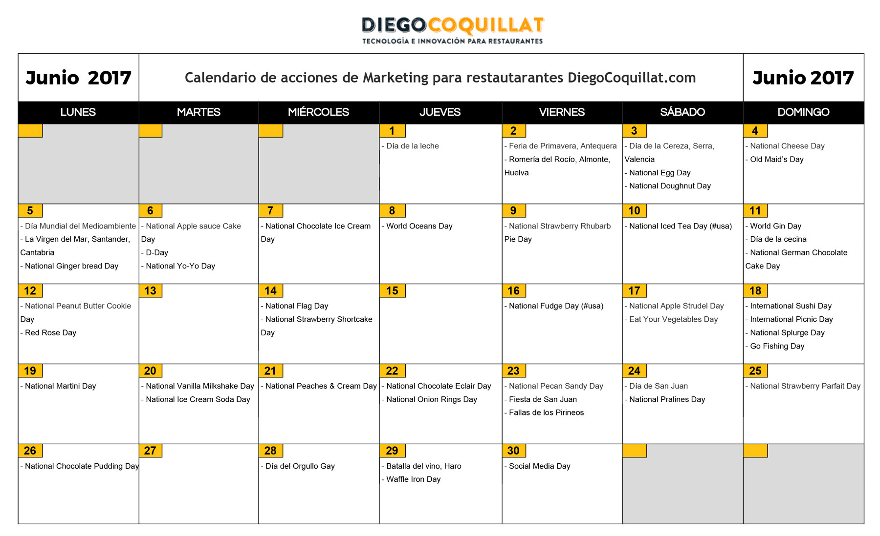 Junio de 2017: marketing activities calendar for restaurants