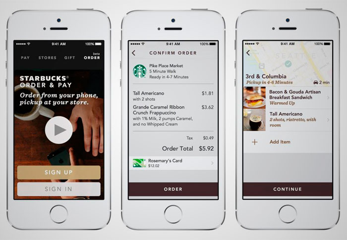 "In September 2015, Starbucks, one of the world's major coffee chains, officially launched its & quot; Mobile Order & Pay on the Starbucks"". It basically involves the ability to order and pay via a mobile app for later pick up your order at the selected store without having to wait queue."