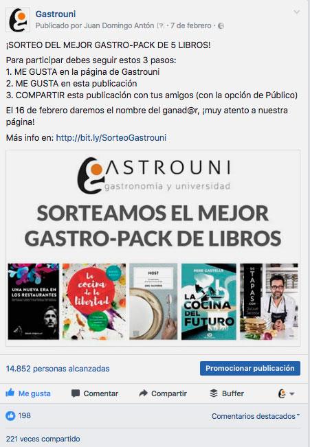 Gastrouni, empresa líder de formación de propietarios y directivos para sector HORECA en España que sorteó en Facebook y Twitter un pack con los 5 libros que recomienda leer a sus alumnos.