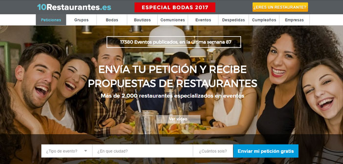 It offers the possibility of finding the best restaurants for groups and events. More of 2.000 restaurants and 1.000.000 diners already used in Spain. The system is very simple, the client makes a request everything you need for your event and restaurants can connect to it to provide the best proposal. It's an easy system, fast and free to access the best restaurants in groups and events.