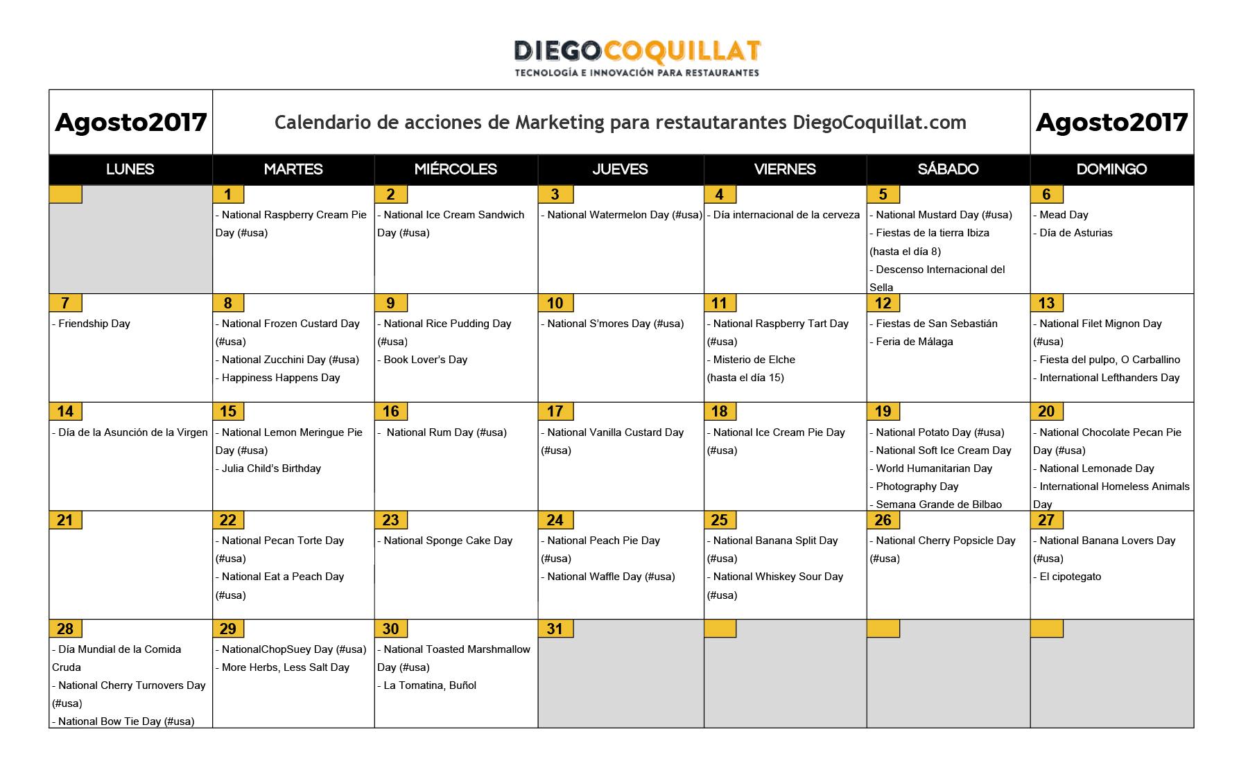 August 2017: marketing activities calendar for restaurants