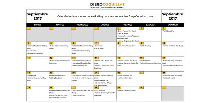 Calendario acciones de marketing restaurantes