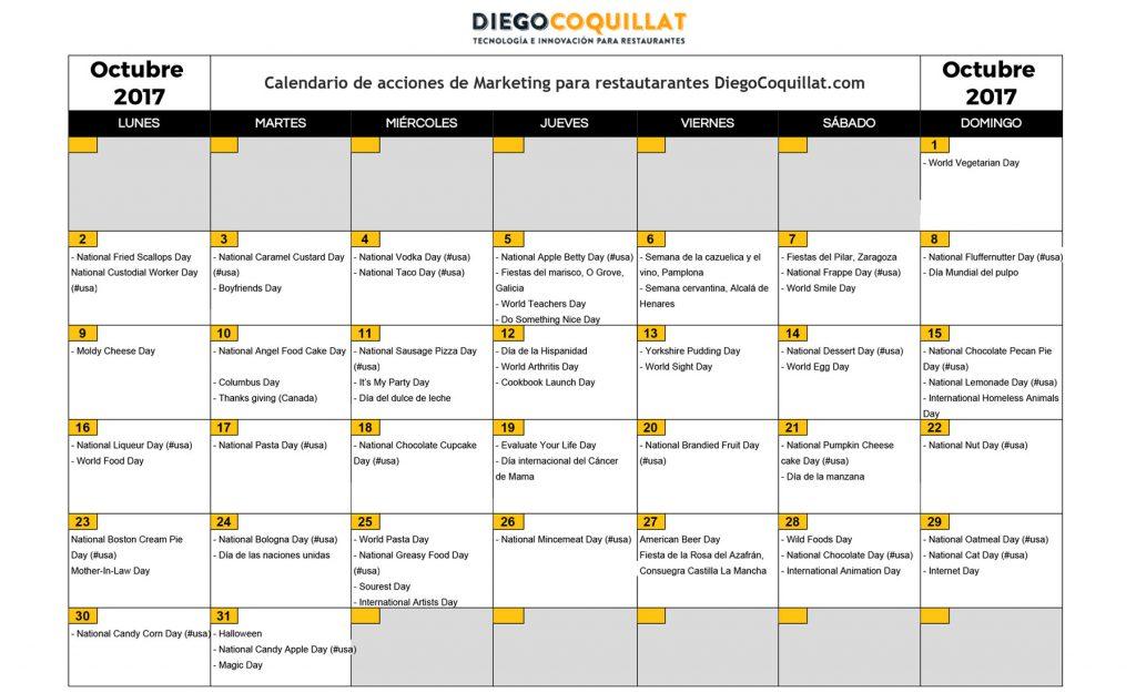 Octubre de 2017: calendario de acciones de marketing para restaurantes   Descarga en el #ClubDiegoCoquillat