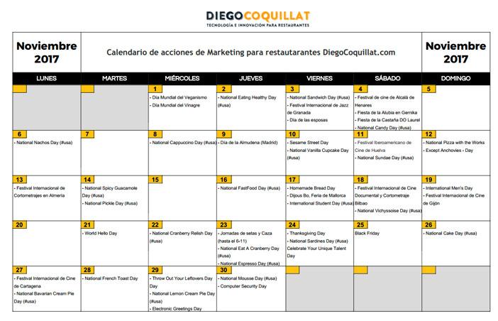 Noviembre 2017: Calendario de acciones de marketing para restaurantes