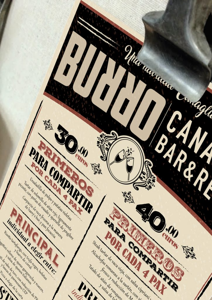 Example Flyer with Christmas menu Restaurant Burro Canaglia Seville