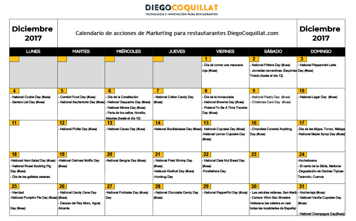 Diciembre de 2017: calendario de acciones de marketing para restaurantes Descarga en el #ClubDiegoCoquillat