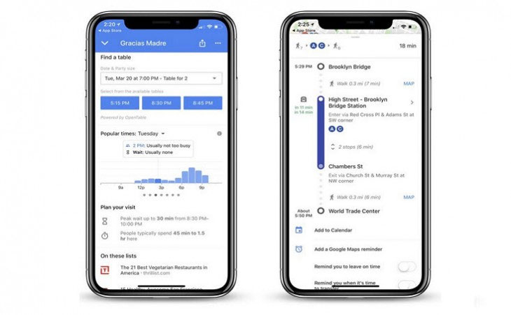 Now, on the screen of our mobile, iOs the updated Google Maps app will show various parameters: what it is the time zone of rush hour, the usual average time expected at a certain time and, novelty!, What is the maximum waiting time at that time.
