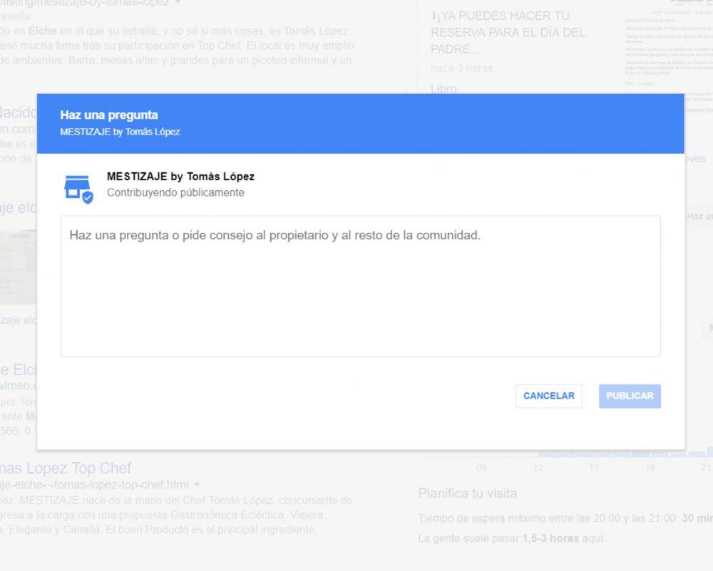 Google Mon entreprise para restaurantes