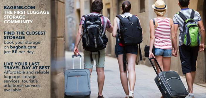 Les touristes qui ne veulent pas laisser vos bagages sans surveillance de la chance car, image airbnb, Bagbnb est un service qui vous permet de louer des espaces slogans sacs de soins, sacs à dos et sacs de voyage.