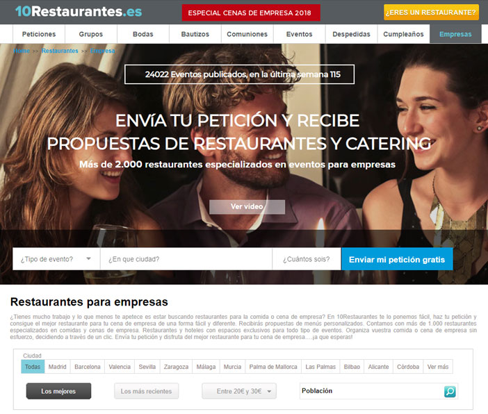 10Restaurants website specialist events and dinners. Find your restaurant for group differently, Send your request and receive proposals from restaurants ... more 50.000 clients and have used it ... ... easy,Fast and free!