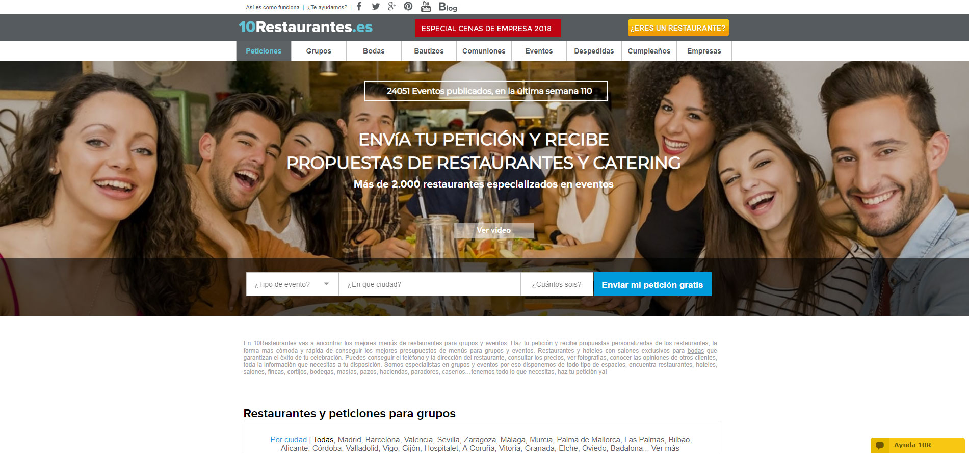 You can access the web 10Restaurantes.com, specializing in restaurants for groups and events; wedding, christenings, communions, business scene, etc., making your request, receive proposal restaurants and talk directly with them through this application on the needs of your event. It is easy, Fast and free.