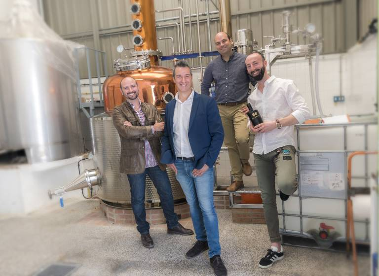 """The founders of Malabusca Gin: """"We wanted to make a serious gin, but once the rabble; good, the best in the world; with a fancy name and gulf at a time """", Ramirez said, adding that it is """"a gin made for pleasure and the joy of living""""."""