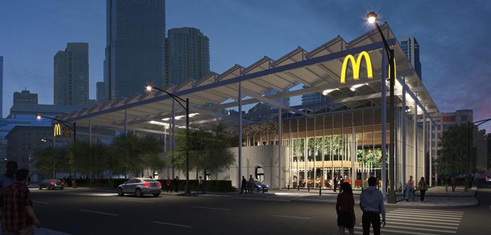 Pues bien, son varias las soluciones subyacentes que ya están presentes en el McDonald's EotF de Chicago. Una de las más aparentes es la fachada acristalada y los espacios amplios y diáfanos que facilitan el tránsito por el interior del establecimiento.